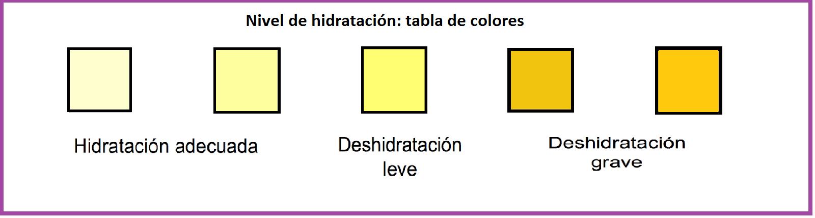 Color de orina según deshidratación